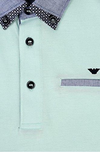 Armani Junior Boy's Short Sleeve Mint Polo w/ Collar Pattern (Big Kids) Light Green 14 Big Kids by Armani Junior (Image #2)
