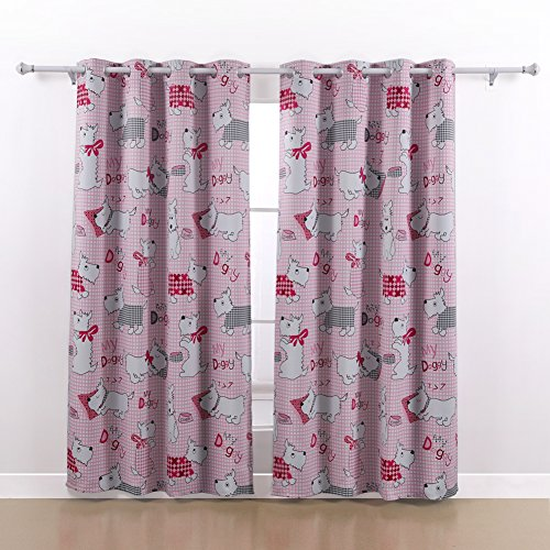 Deconovo Pink Dog Cartoon Designs Thermal Insulated Blackout Curtain for Girls Room 52×84 Inch 1 Pair Review