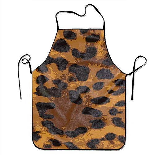 GOOESING Leopard Skin Powerpoint Backgrounds Apron for Kitchen BBQ Barbecue Cooking Lady