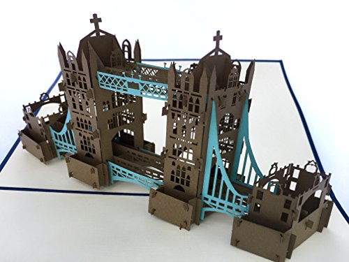 PopLife London Tower Bridge 3D Pop Up Greeting Card for All Occasions - UK Travellers, Architecture and History Lovers - Folds Flat - Birthday, Mother's Day, Graduation, Retirement, (Birthday Decorations London)