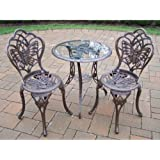 Oakland Living Butterfly Cast Aluminum 24-Inch Glass Top Table with 3-Piece Bistro Set, Antique Bronze