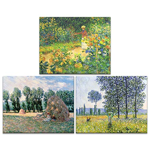 - Innopics 3 Piece Claude Monet's Reproduction Canvas Wall Art Decor Haystack Garden Sunlight Poplar Printed Painting Field Landscape Impressionist Style Artwork for Home Living Room Bedroom Decoration