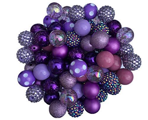 20mm Purple Mix 30 Count Chunky Bubble Gum Acrylic Beads Bulk Wholesale Pack Necklace Kit