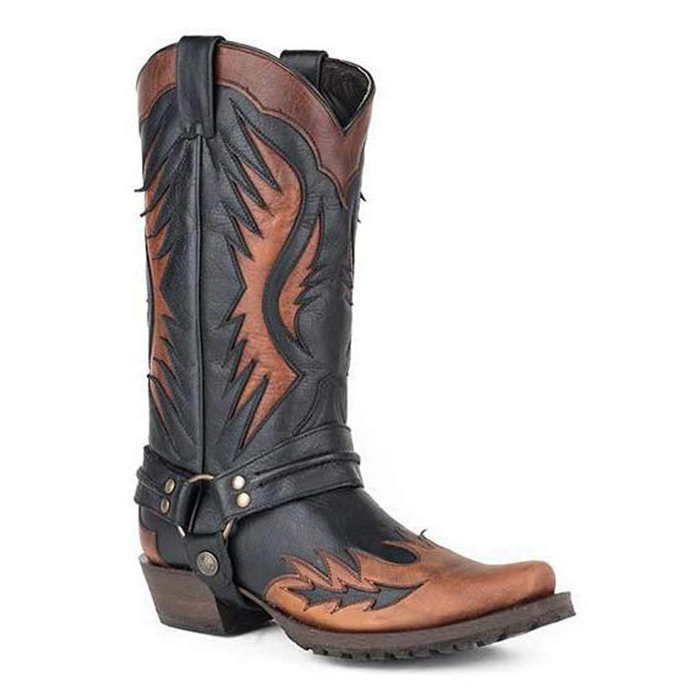 Mens Stetson Biker Outlaw Eagle Boots Square Rocker Toe Handcrafted