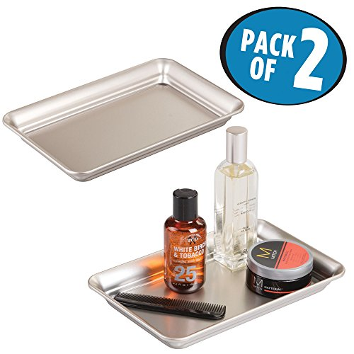mDesign Metal Storage Organizer Tray for Bathroom Vanity Countertops, Closets and Dressers - Holder for Watches, Earrings, Makeup Brushes, Reading Glasses, Perfume - Pack of 2, Satin ()