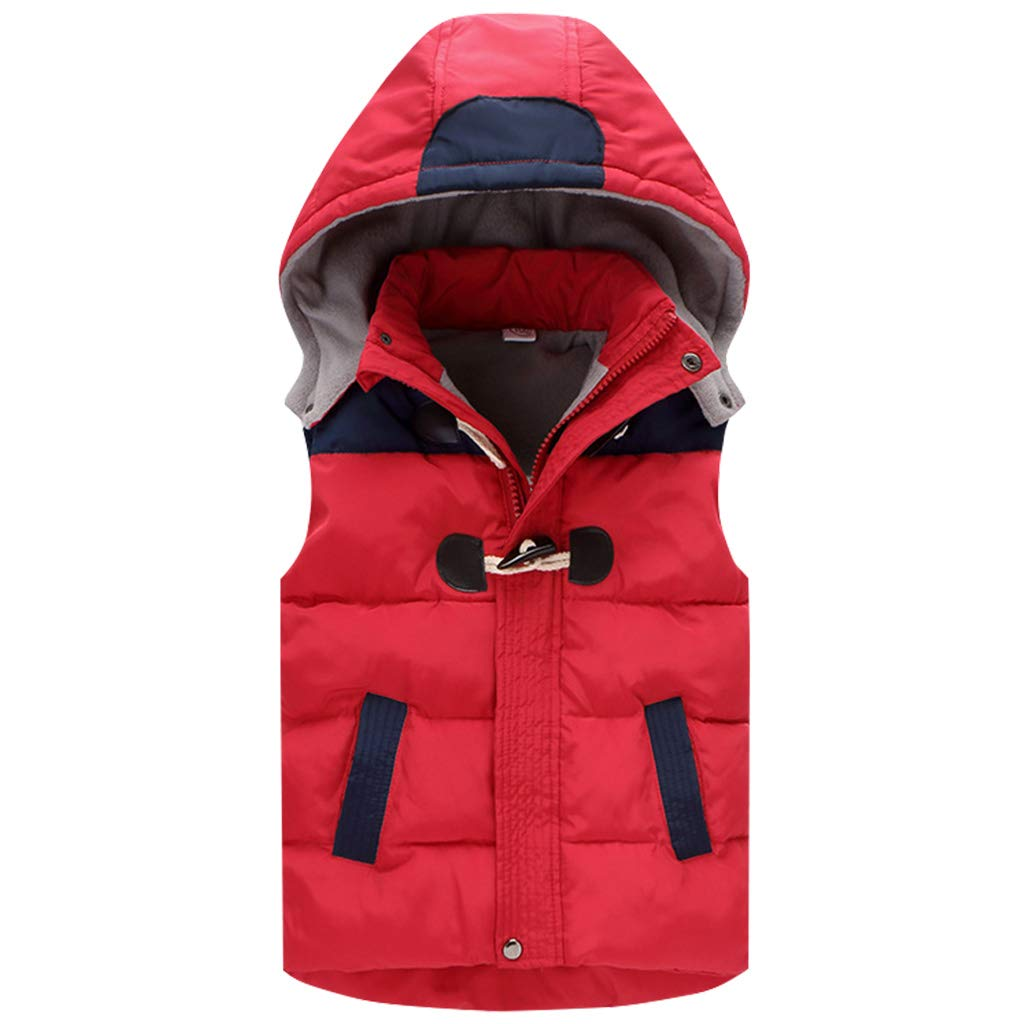 Boys Girls Hooded Gilet Vest Sleeveless Jacket Body Warmers Winter Coat for 2-6 Years