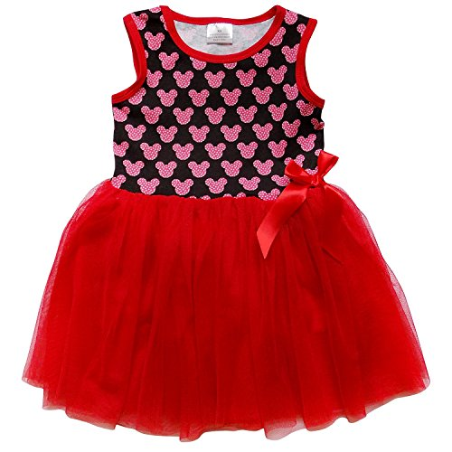 So Sydney Toddler Girls Tank Top Style Chiffon Tulle Layered Spring Summer Dress (M (4T), Mouse Head - Style Sydney Fashion