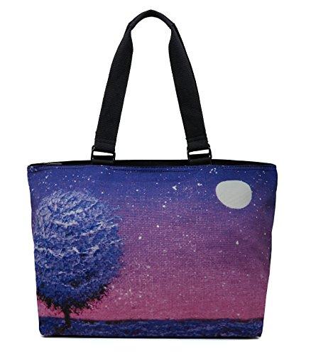 (Printed Canvas Spacious Large Travel Shoulder Tote Bag Handbag - Night Scene Oil Painting)