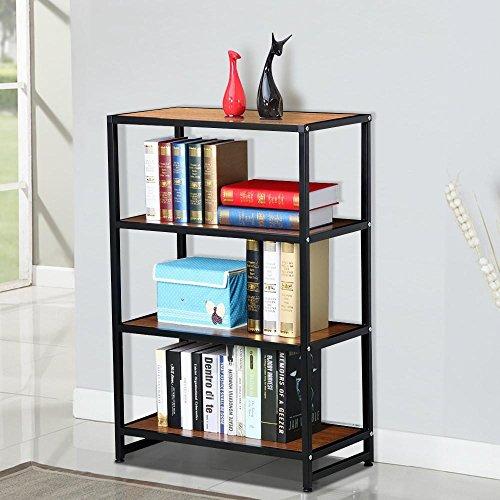 Topeakmart 4 Shelves Wide Bookcase Black Metal Frame Light Brown Wood Display Shelving Unit