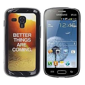 Be Good Phone Accessory // Dura Cáscara cubierta Protectora Caso Carcasa Funda de Protección para Samsung Galaxy S Duos S7562 // Sunset Water Surf Text Motivational