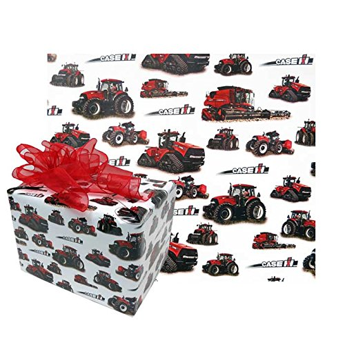 Case IH Gift Wrapping Paper w/ Tractors White from Case IH