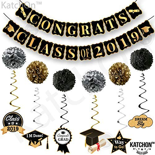 KatchOn Congrats Class of 2019 and Hanging Swirls Kit - Assembled, Graduation Party Supplies 2019, Graduation Banner, Black and Gold High School, Prom, College 2019 Graduation Decorations, Large ]()