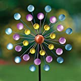 Bits and Pieces - Multi-Color Rainbow Dots Mini Kinetic Wind Spinner Stake - Metal Outdoor Windspinner Sculpture Lawn, Garden, and Yard Decor