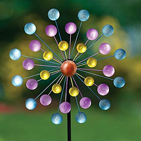 Bits and Pieces - Multi-Color Rainbow Dots Mini Kinetic Wind Spinner Stake - Metal Outdoor Windspinner Sculpture Lawn, Garden, and Yard - Kinetic Metal Sculpture