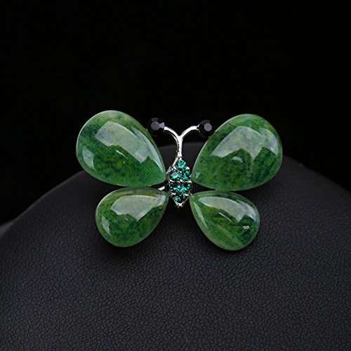 retro alloy crystal butterfly brooch pin women girls accessories jade brooch pin scarf shawl collar pin button suit - Jade Brooch Pin