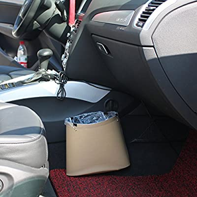 Timorn Car Trash Can,Car Garbage Can PU Leather, Auto Trash Can for Travelling, Outdoor, and Vehicle(Beige): Automotive