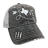 Loaded Lids Women's Love Texas Distressed Bling Baseball Cap (Grey/White)