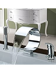 BL Modern Retro Widespread Contemporary Two Handles Chrome Finish Waterfall Tub Faucet With Handshower Bathtub Faucet Chrome Plated Solid Brass