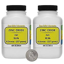 Zinc Oxide [Zno] Acs Grade Powder 1 Lb In Two Space-saver Bottles Usa