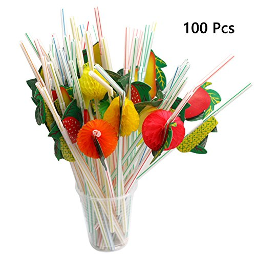 Sc0nni 100Pcs Colorful Flower Straws Fruit Straws Luau Party Decor Tropical Polyester Florals Table Beverage (Hibiscus Flower Straws)