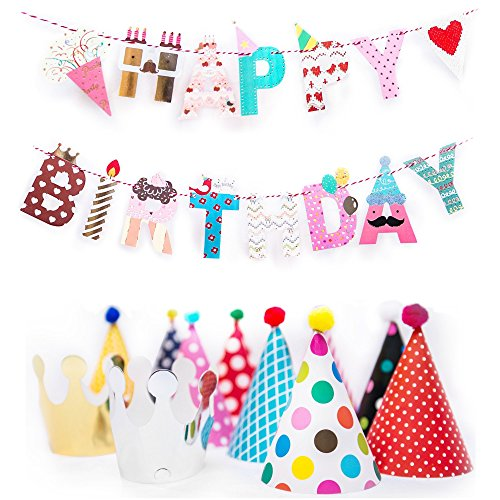 Fun and Colorful Gold Foiled Happy Birthday Banner Flags and Kids Party Hats and Crowns Set – Small-sized Party Decoration Supplies