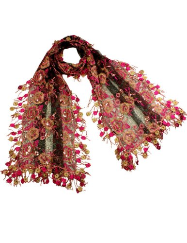 Beaded Embroidered Shawl Scarf Wrap (Embroidered Lace Large Flower & Beaded Shiny Sequins Long Scarf - Magenta)