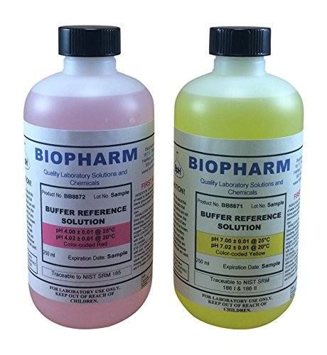 - Biopharm pH Calibration Kit (2) 8oz Bottles pH 4 and pH 7 Buffer NIST Traceable Reference Standards for All pH Meters