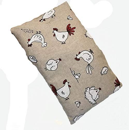 Coussin de cou avec noyaux de cerise pour Douleur cervicale/maux d'estomac/Fiè vre haute/contusion (650gr. –  32 x 19 x 2 cm) –  Traitement chaud froid –  Fantaisie poules