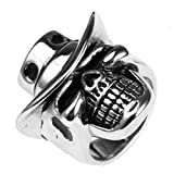Epinki Jewelry Stainless Steel Vintage Punk Rock Men Silver Skull Cowboy Hat Ring 6MM Size 9