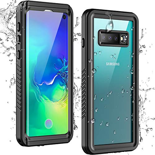 Temdan Samsung Galaxy S10 Waterproof Case with Built-in Screen Protector and Support Fingerprint Film Full-Body Clear Sound Quality IP68 Waterproof case for Samsung Galaxy S10 6.1inch (Black)