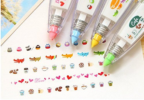 Eff-cientt 4pcs Korea Cute Novelty Sticker Machines,Decoration Tape