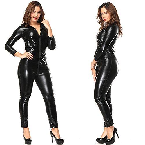 LAFIZZLE Sexy Lingerie Plus Size XXS - 8XL PVC Black Woman Latex Bodysuit Crotchless Catsuit Jumpsuit Faux Leather Gothic Punk Party Costume (8XL)