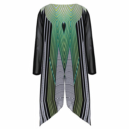 Women's Tunic Top - Abstract Clover Leaf Sheer Layered Shirt - 1X