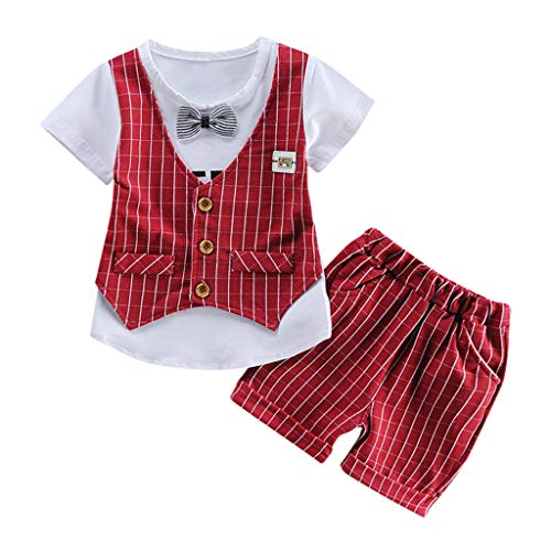 Mittens The Pooh Winnie Cotton - FEITONG Baby Outfit, Toddler Baby Kids Boys Bow Vest T Shirt Tops Plaid Shorts Set Outfits Clothes Red