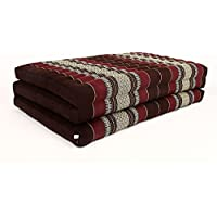 Design by UnseenThailand Thai Massage Mat, Kapok Fabric, Premium Double Stitched, 82x46x3 inches. (Dark Red - Red)