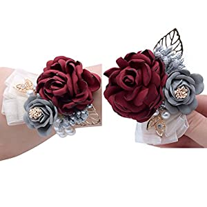 Florashop Pink Satin Rose Wrist Corsage & boutonniere Wedding Bridal Bridesmaid Wrist Corsage Wristband and Men's Groom Bridegroom Boutonniere for Wedding Prom Party Homecoming 59