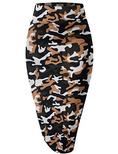 HyBrid & Company Womens Pencil Skirt For Office Wear KSK43584 10599 Olive (Camouflage Knee Length Skirt)