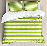 Lime Green Duvet Cover Set King Size by Ambesonne, Horizontal Stripes Simplistic Watercolor Paintbrush Large Lines Image, Decorative 3 Piece Bedding Set with 2 Pillow Shams, White Lime Green
