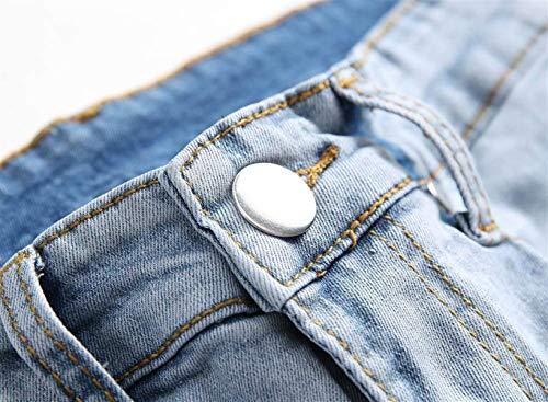 Casual Fit Blau Jeans Slim Uomo Elasticizzati Strappati Con Pantaloni Denim Moda Giovane Biker TTqPIwA