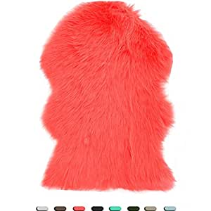 Decosy Ultra Soft Fuzzy Rug 2 ft x 3 ft - Faux Fur Area Rugs for Bedroom, Living Room - Solid Shaggy Seat Cushion Pad Chair Cover Throws - Sofa Couch Floor Car Mat - Faux Sheepskin Carpet Fluffy Coral