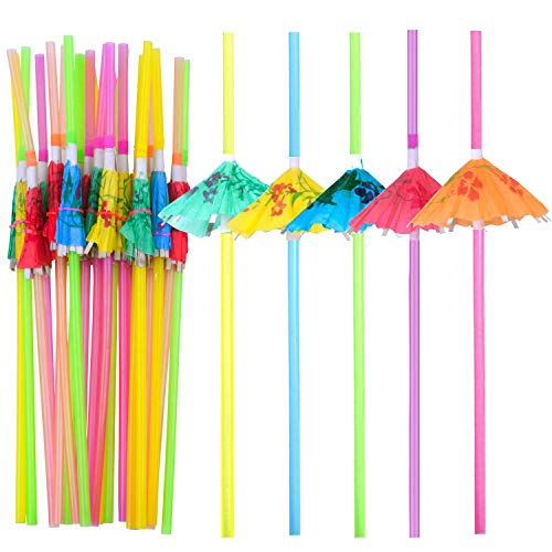 BronaGrand 100 Pieces Umbrella Straws,Disposable Flexible Drinking Straws Parasol Straws for Luau Parties, Bars, Restaurants,Kitchen Supplies,Island Themed Party