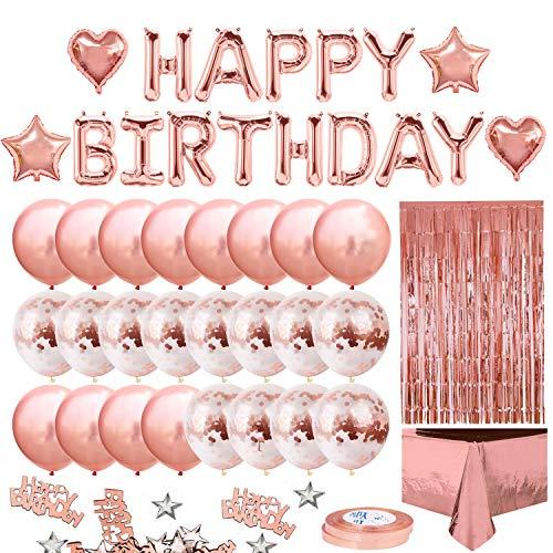 iZoeL Geburtstagsdeko Rosegold Happy Birthday Girlande 24 Konfetti Ballons Tischdecke Glitzer Vorhang Konfetti Herz Stern Folienballon