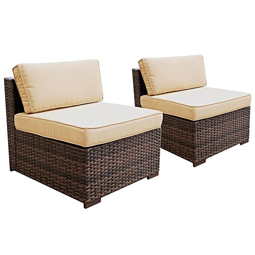 PATIOROMA Patio Loveseat Wicker Armless Chairs, All Weather Brown PE Wicker Sofa Chair,Additional Seats for Sectional Sofa(B07CVMRFZY/B07CVMW435), Beige Cushions,Steel Frame,2 Piece ()