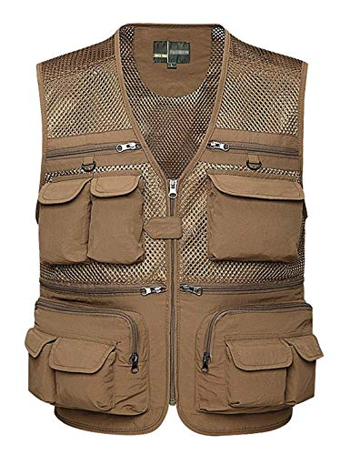 Gihuo Men's Summer Outdoor Work Safari Fishing Travel Vest with Pockets (XX-Large, Khaki-mesh)