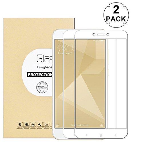 KTTWO Xiaomi Redmi 4X Screen Protector Glass, (2PACK) Full Screen Coverage Anti-Scratch Bubble-Free Tempered Glass Screen Protector with Full Glue for Xiaomi Redmi 4 X 5 Screen Smartphone (White)