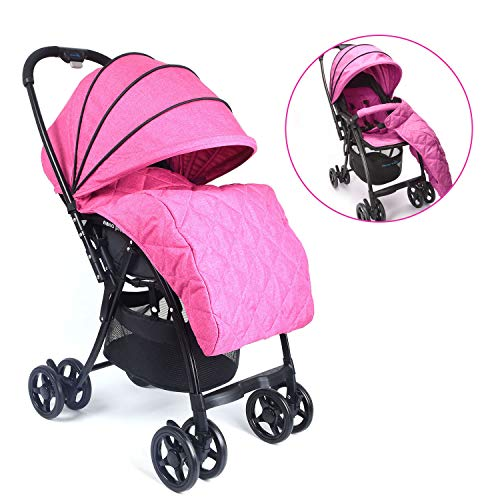 Wonder buggy Lightweight Baby Stroller with Reversible Handle and Detachable Footmuff, 5-Point Safety Harness, Multi-Position Reclining Seat, Easy Foldable and Collapsible, Pink