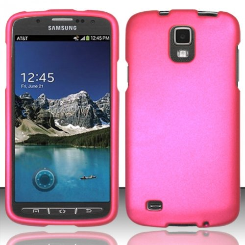 5-in-1 Bundle For Samsung Galaxy S4 S 4 Active i537 i9295 (AT&T) - Hot Pink Rubberized Hard Case Snap-on Cover + Clear LCD Screen Protector + Car Charger + Home Travel Charger + Sync USB Data Cable