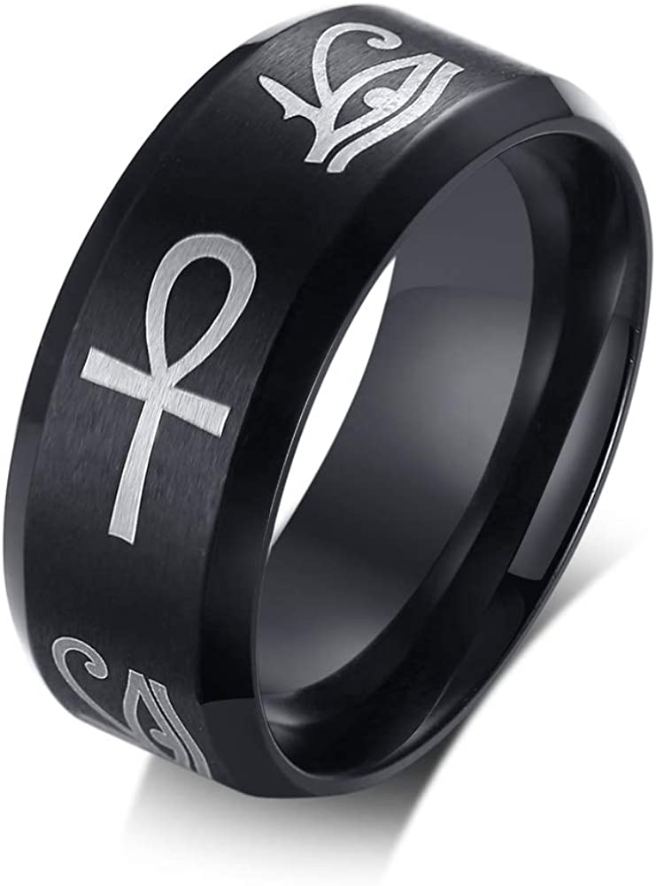 PJ Jewelry Ancient Egyptian Symbol Eye of Horus Ankh Cross Protection Wedding Band Ring for Men