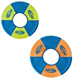 Nerf Dog (2-Pack UltraPlush Trackshot Toss and Tug Ring Dog Toy, Orange/Blue & Green/Blue, Medium