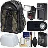 Canon 200EG Deluxe Digital SLR Camera Backpack Case with LP-E17 Battery & Charger + Flash + Diffuser + Remote Kit for Rebel T6s, T6i, T7i, EOS 77D